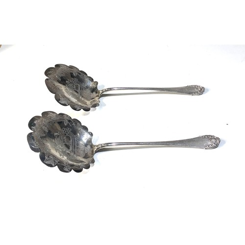 41 - Pair of large french silver servers 1st degree silver minerva head 1 maker mark P.B  Philippe Bertie...