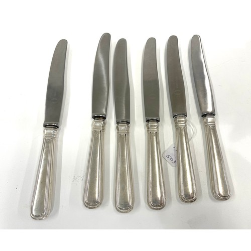 35 - 6 Dutch silver handled table knives hallmarked for Van Kempen each measure approx 21cm long in good ...