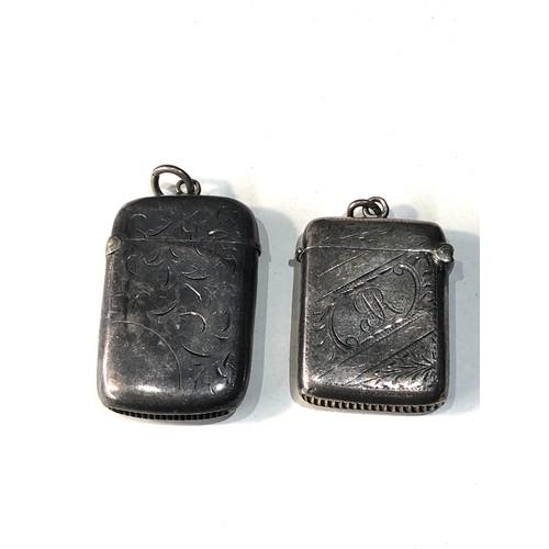14 - 2 antique silver vesta / match strikers...