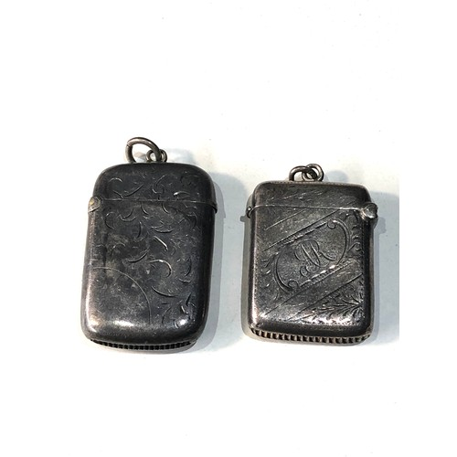 15 - 2 antique silver vesta/ match strikers...
