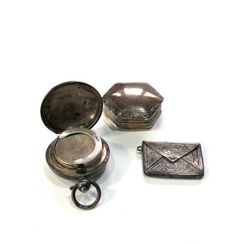 16 - Selection of silver items includes pill box envelope stamp case and silver coin holder age related m...
