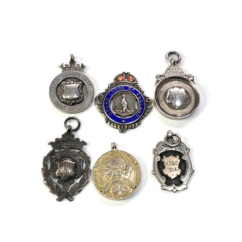 17 - 6 antique silver watch chain fobs