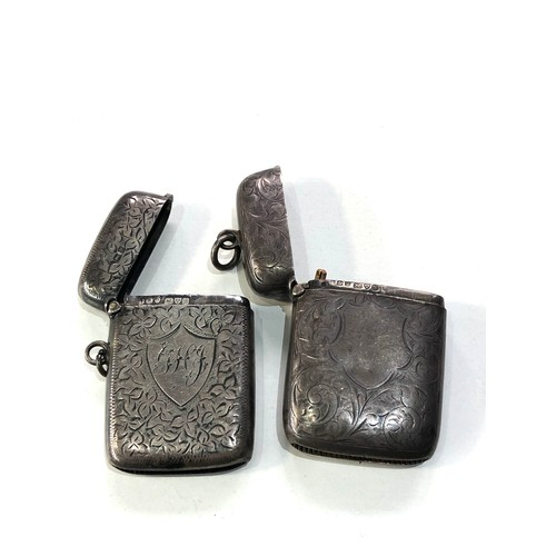 19 - 2 antique silver vesta / match strikers