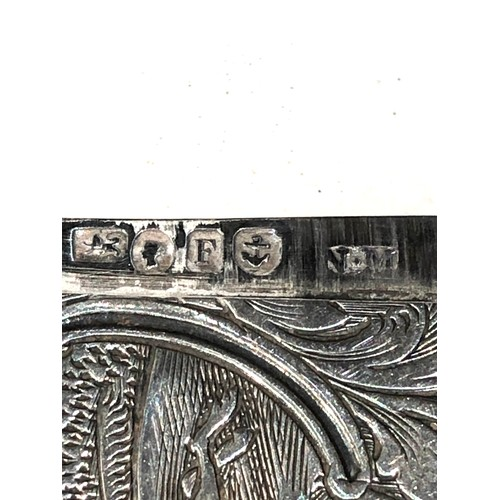 33 - Antique silver Nathaniel mills engraved hunting scene card case meaures approx 8cm by 5cm