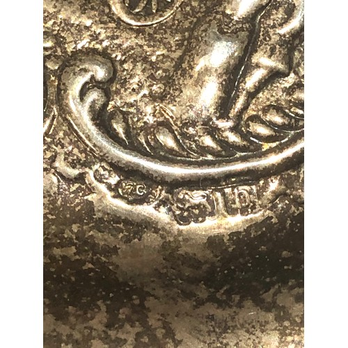 51 - Vintage silver pierced scenic embossed lid jewellery box measures approx 10cm dia height 5.7cm fitte...