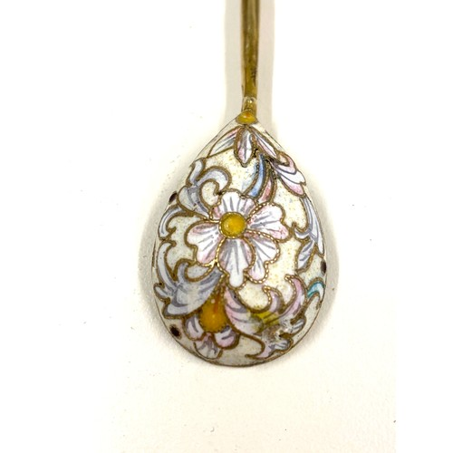 58 - Antique Russian silver  Gilt and  enamel small spoon...