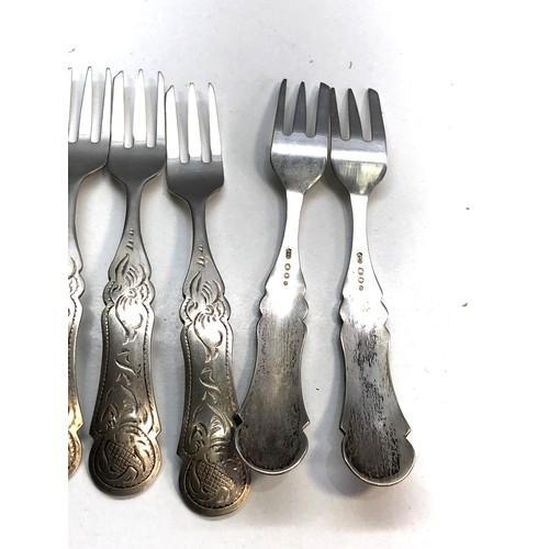 21 - 6 antique dutch silver cake forks dutch hallmarks weight 78g