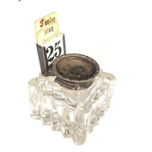 36 - Large Antique silver desk inkwell and calendar glass inkwell measures approx 9.2cm sq the height inc...