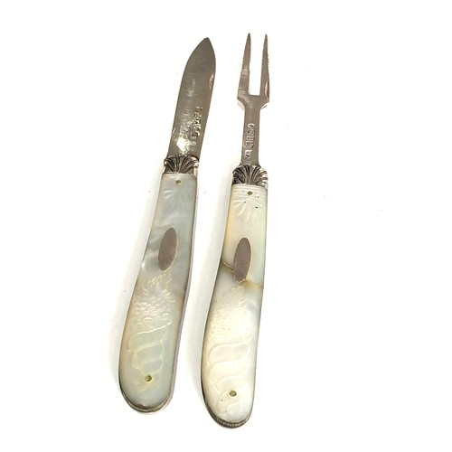 2 - Antique silver & mop knife and fork both have victorian silver hallmarks matching mop handles with h...