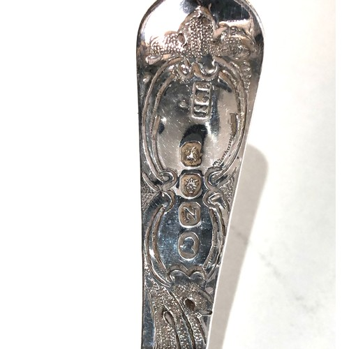 10 - Antique Georgian 1808 silver fruit embossed shifter spoon measures approx 18cm long