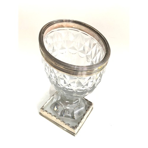 13 - Antique georgian silver mounted cut glass sweetmeat vase later silver mount to base measures approx ...