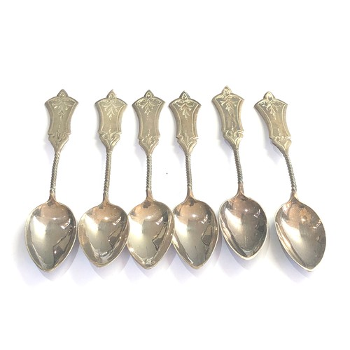 8 - Antique set of 6 dutch silver coffee spoons