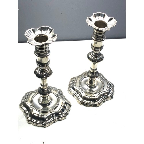 1 - A fine pair of early cast silver Georgian candlesticks full london silver hallmarks measure approx 2...