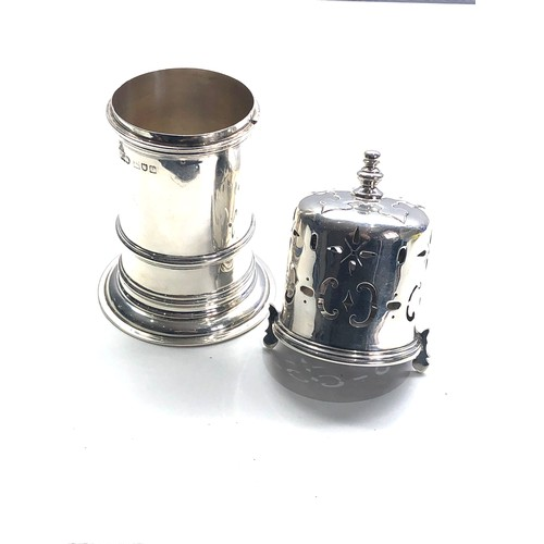 37 - Large antique silver Lighthouse sugar caster by reid & sons newcastle on tyne measures approx 17cm t...