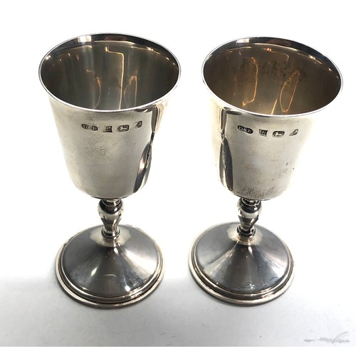 42 - Pair of silver goblets Birmingham silver hallmarks each measure approx 11cm tall weight 163g