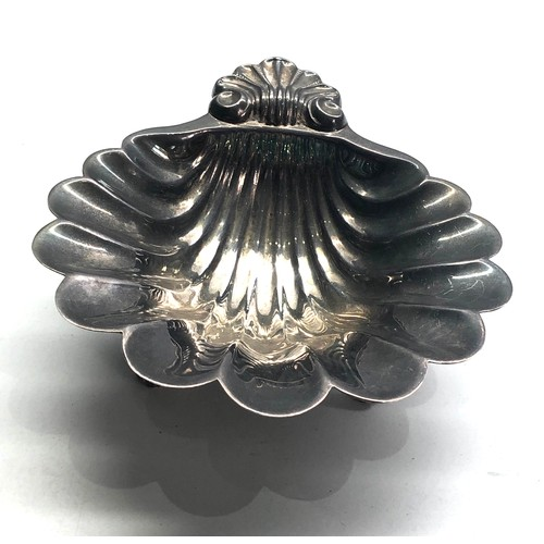 46 - Antique mappin and webb silver oyster shell bowl measures approx 13.5cm by 12cm height 4cm weight 11...