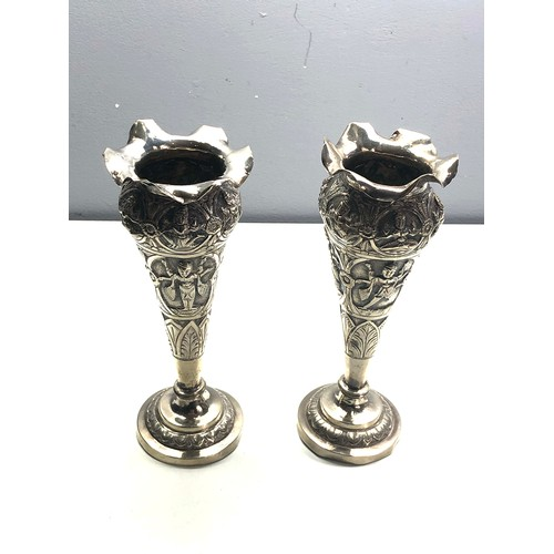 47 - Pair of antique asian silver vases ornate embossed design measure approx 18cm tall weight 280g