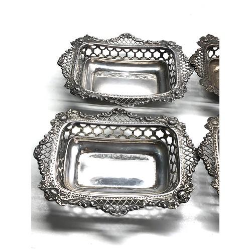 48 - 4 antique silver pierced bowls London silver hallmarks maker W.C each measures approx 14cm by 11cm h...