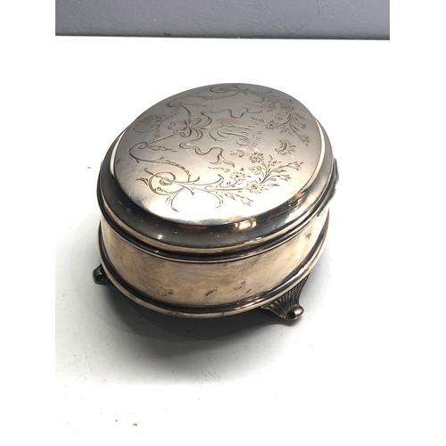 49 - Large antique silver jewellery box Birmingham silver hallmarks measures approx 14.5 cm by 10.5cm hei...