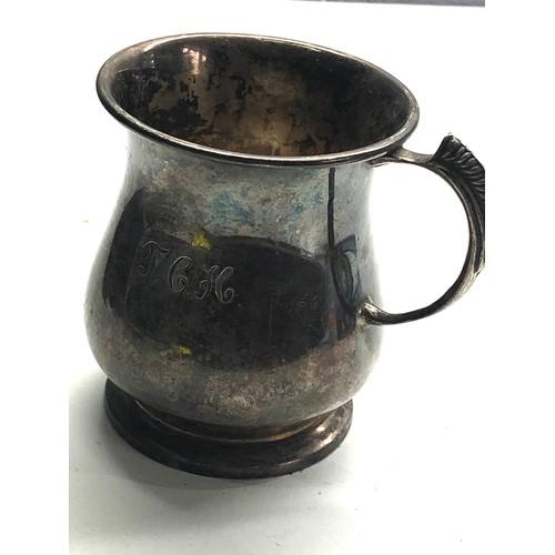 50 - Vintage silver christening mug Birmingham silver hallmarks engraved initials measures approx height ...