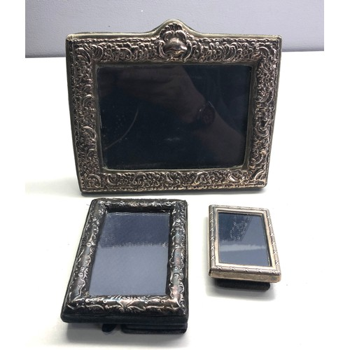 59 - 3 silver picture frames largest measure approx 17cm by 13cm