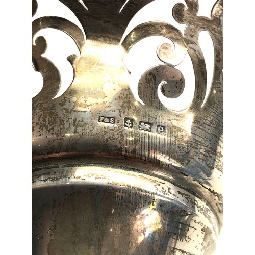 58 - Large silver flower vase measures approx 28cm tall Birmingham silver hallmarks weight 609g weighted ...