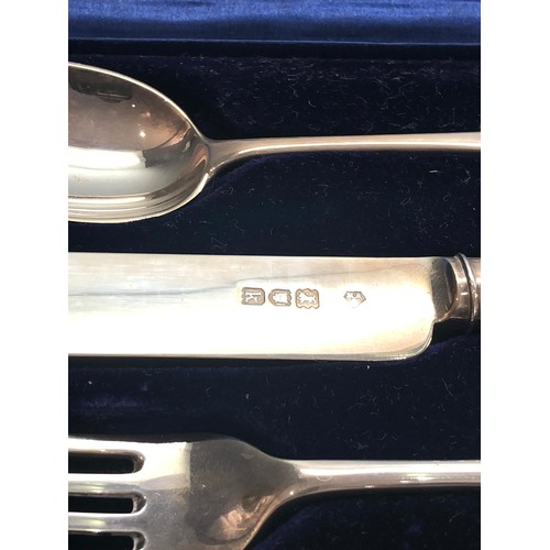 51 - Boxed silver christening set knife fork and spoon