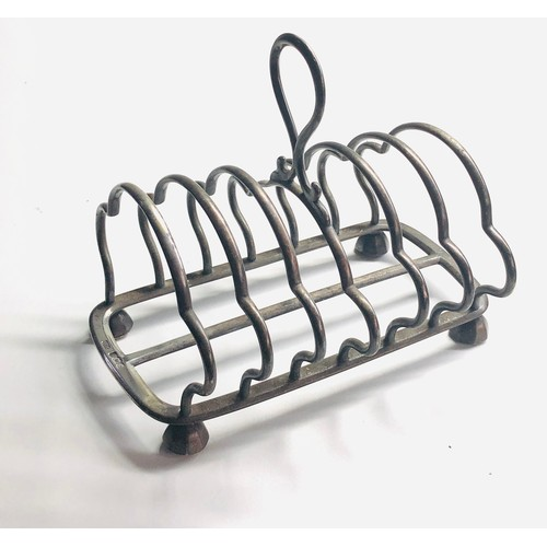 57 - Large heavy antique silver toast rack Sheffield silver hallmarks makers H.H  measure approx 16.5cm h...