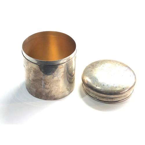 2 - Antique silver round lidded trinket box Birmingham silver hallmarks measures approx 7.5cm dia height...