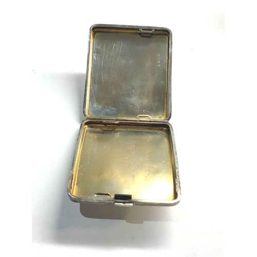 4 - Vintage engine turned cigarette case measures approx 10cm by 8.2cm Birmingham silver hallmarks weigh...