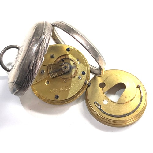527 - Silver open faced pocket watch the express english lever J.G.Graves sheffield watch winds and ticks ...