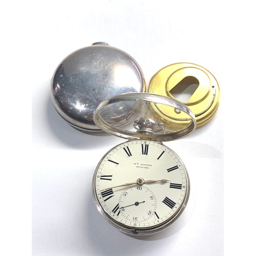 528 - Fine antique silver pair case fusee pocket watch by W.Banner Runcorn watch is in good condition and ...