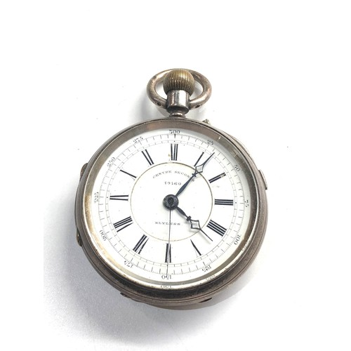 532 - Antique presentation silver centre second chronograph pocket watch watch is ticking but no warranty ...