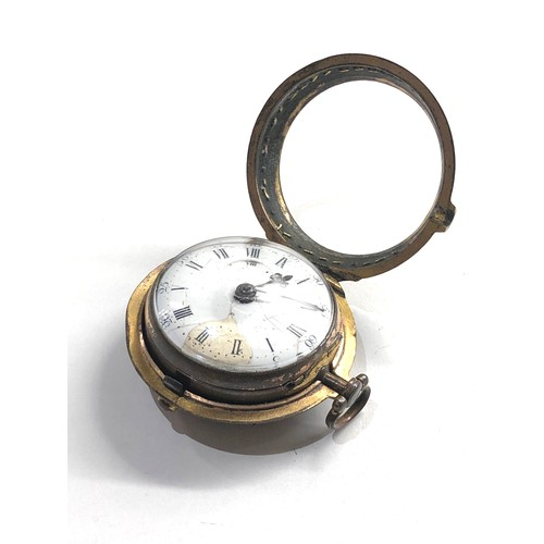 533 - 18th century London paircase verge pocket watch the watch does wind and tick dial damaged outer case...