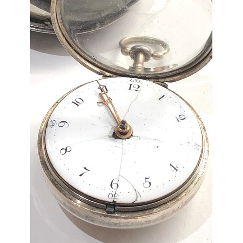 536 - Fine antique silver pair case  verge fusee pocket watch by Jn Crawshaw Rotherham watch is in good co...