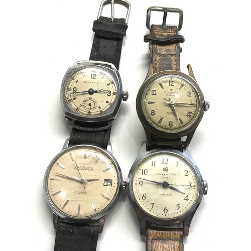 503 - Selection of 4 vintage gents wrist watches includes towne ingersoll sekonda hirco sports untested sp...