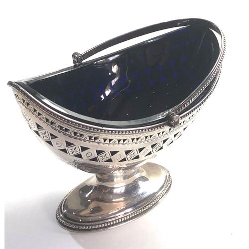 11 - Georgian silver pierced swing handle sugar basket, London 1804 by Robert hennell 1 measures approx 1...