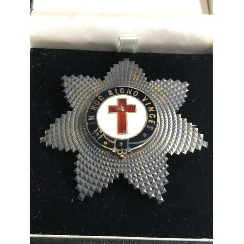 558 - Antique Silver Knights Templar Breast Star Jewel - Masonic London silver hallmarks measures approx 6...