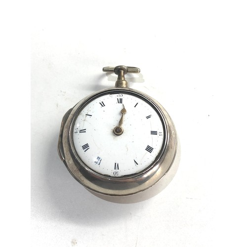 538 - Antique georgian silver pair case verge fusee pocket watch Davidson DUNSE the watch winds and ticks ...