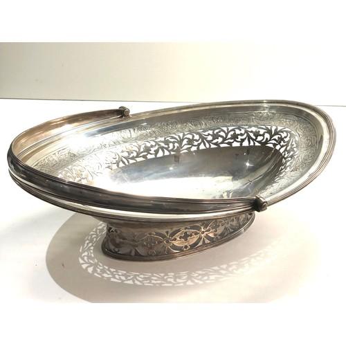 14 - Large georgian silver swing handle pierced silver fruit basket measures approx 35cm by 26cm height n...