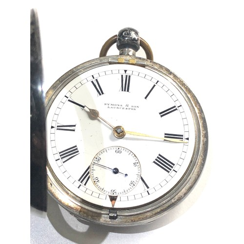 540 - Antique silver fusee pocket watch by symons & son launceston case measures approx 51cm dia in workin...