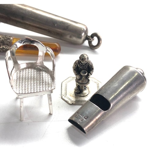 20 - Selection of small silver items includes whistle silver cased amber cheroot miniature figure and cha...