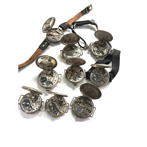 517 - 10 antique silver trench style wristwatches spares parts or repair