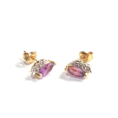122 - 9ct gold amethyst & diamond earrings