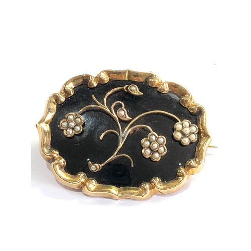 127 - Large Victorian gold and enamel with seed-pearl mourning brooch engraved on back measures approx 5.6...