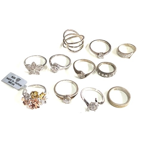 95 - Selection of silver stone set rings