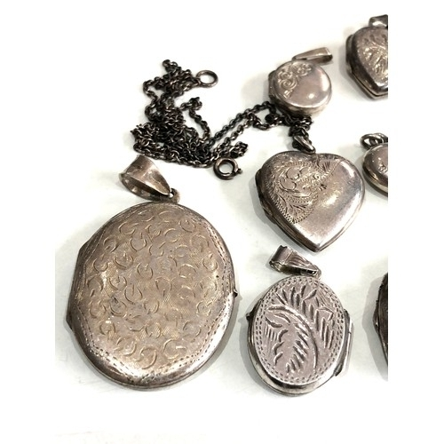 135 - Large selection of antique / vintage silver heart lockets etc