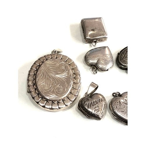 97 - Selection of antique / vintage silver heart lockets etc