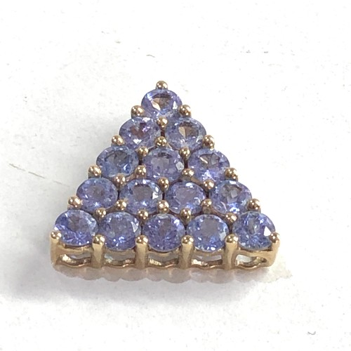 151 - 9ct gold tanzanite pendant measures approx 1.4cm drop weight 1.6g
