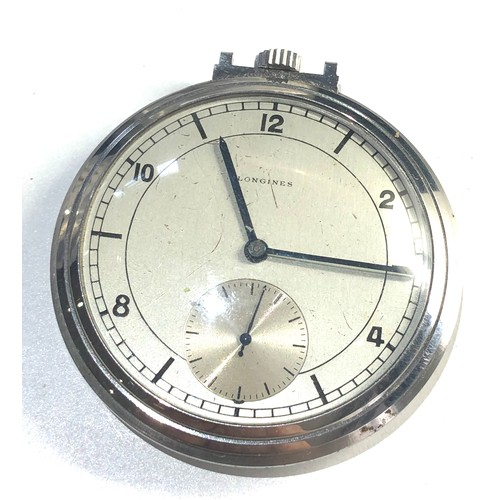 545 - Longines pocket watch missing suspension ring spares or repair